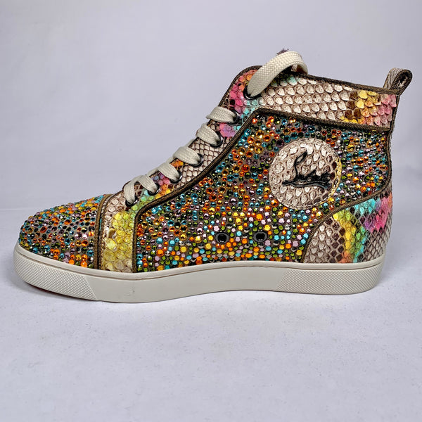 Sneakers Louis in pitone e Swarosky multicolor, limited edition, 37