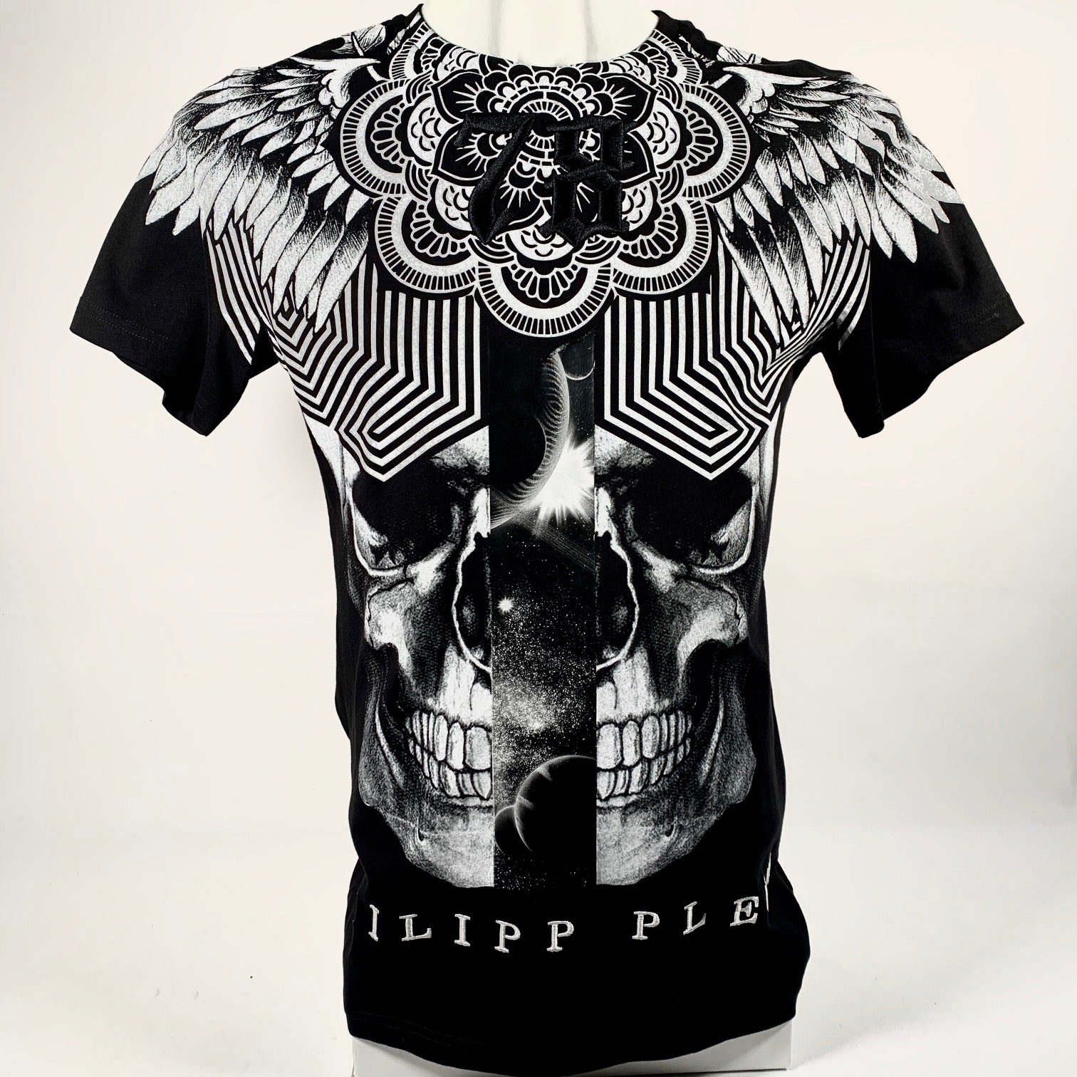 Philipp Plein, T-shirt stampa teschio + patch ricami, M