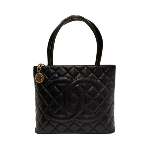 Borsa Medallion in pelle nera
