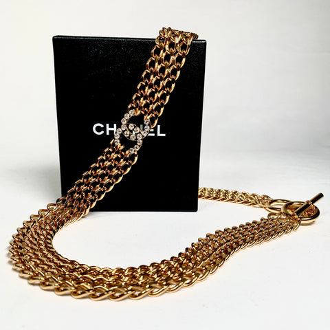 Chanel golden chain belt with vintage logo