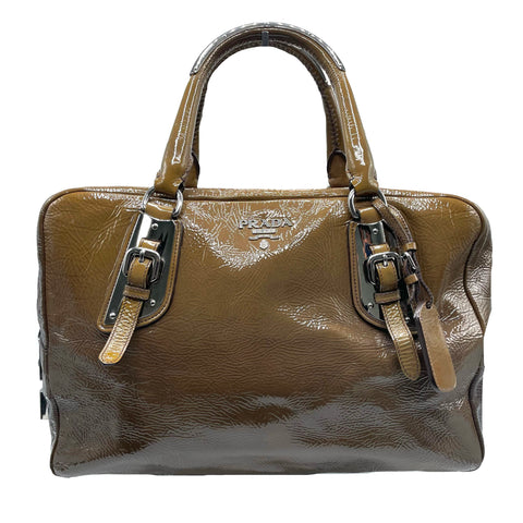 Prada tote bag in khaki patent leather