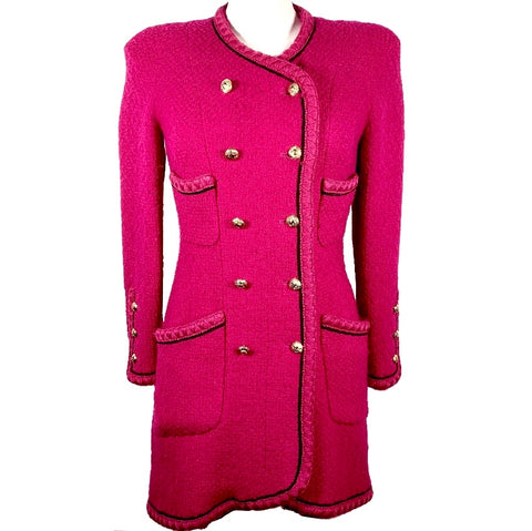 Chanel vintage coat in fuchsia wool tweed, 40