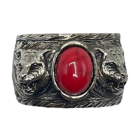 Gucci ring .925 sterling silver and coral stone, 23