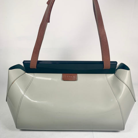 Marni bag with shoulder strap in greige patent leather