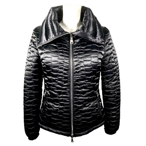 Prada black down jacket with scaled quilting, 42
