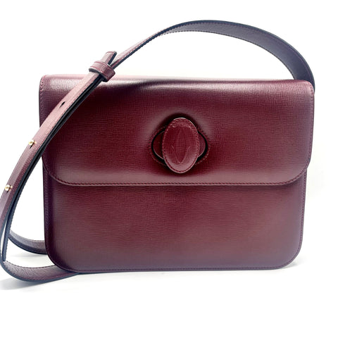 Cartier shoulder bag in burgundy taurillon leather