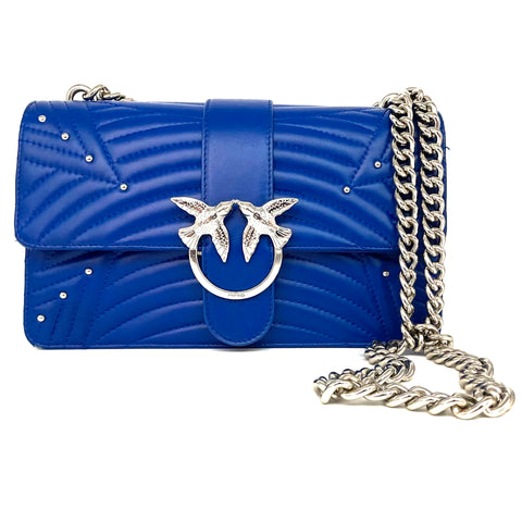 Pinko Love bag con tracolla in pelle blu royal