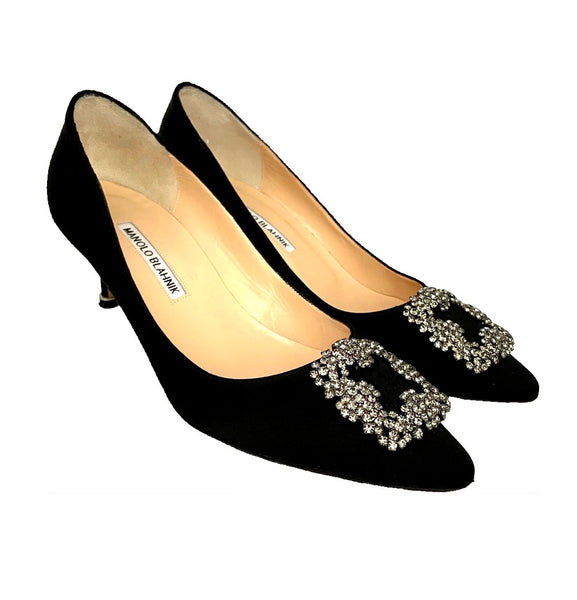 Manolo Blahnik pumps Hangisi nero satin, 38.5
