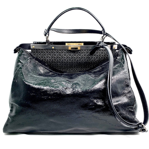 Fendi, Peekaboo tote bag, black patent leather
