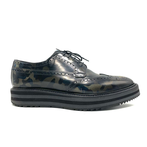 Prada lace-up derby shoe in camouflage leather, 41