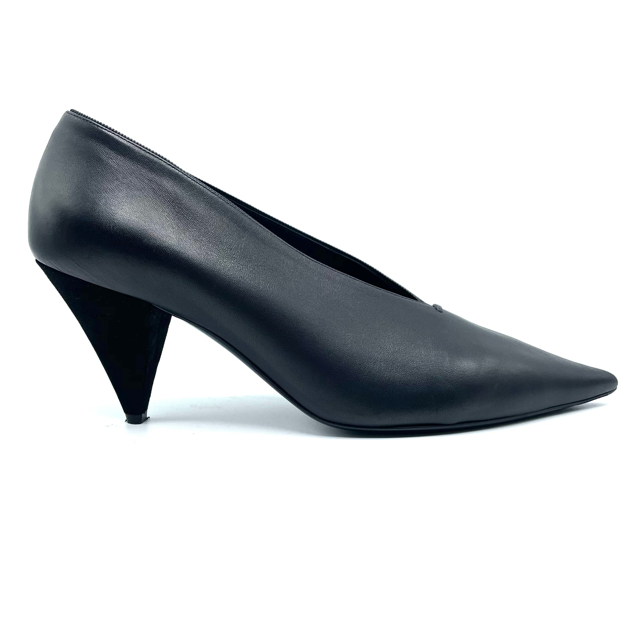 Celine Black Leather V Neck Pointed Toe Pumps