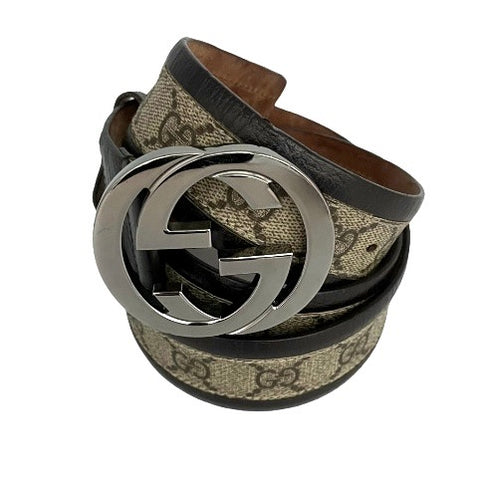 Gucci belt with all over logo and silver buckle, 95 cm