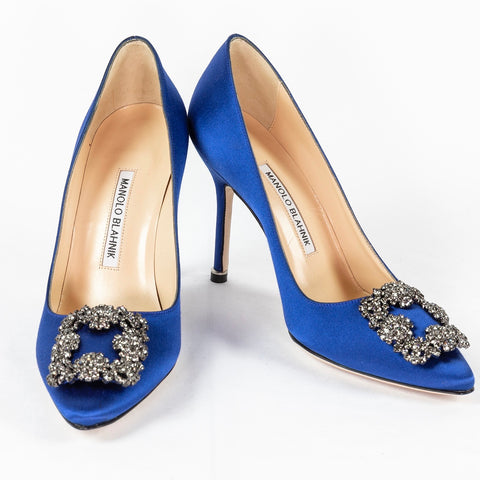 Manolo Blahnik, Hangisi royal blue satin, 105