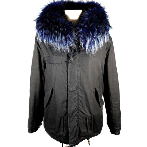 Mr & Mrs Italy black parka with blue fur, XXS