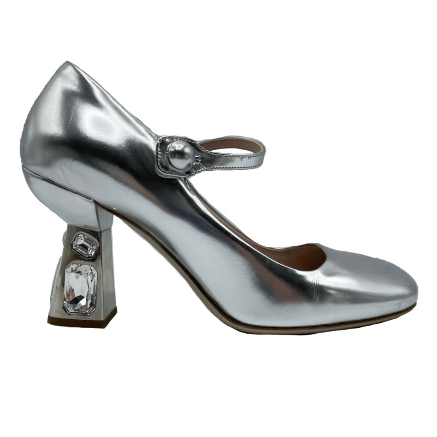 Miu Miu Pumps Mary Jane argento Swarovski,39