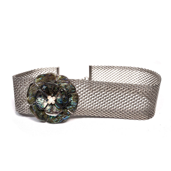 Chanel Metal cocker collar with mother of pearl camellia