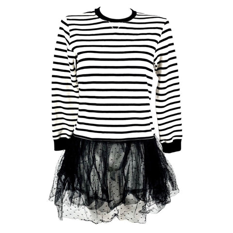 Red Valentino striped sweatshirt dress with tulle, S