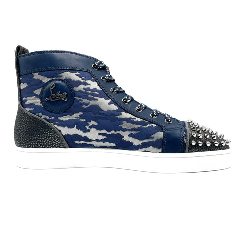 Louboutin Louis Spike high sneakers in dark blue camouflage leather, 44