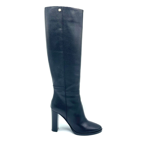 Jimmy Choo black leather boots with lacquer heel, 38