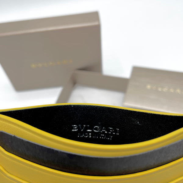 Bulgari porta carte in pelle giallo