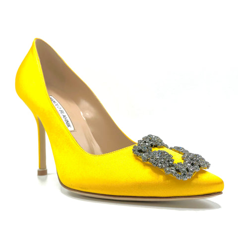 Manolo Blahnik Hangisi in satin di seta yellow satin, 36,5