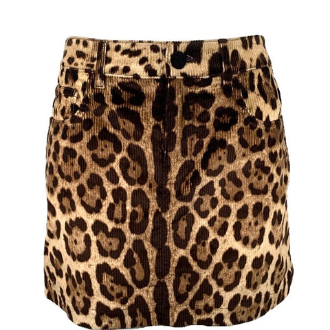 Dolce & Gabbana mini gonna in velluto leopardata, 38