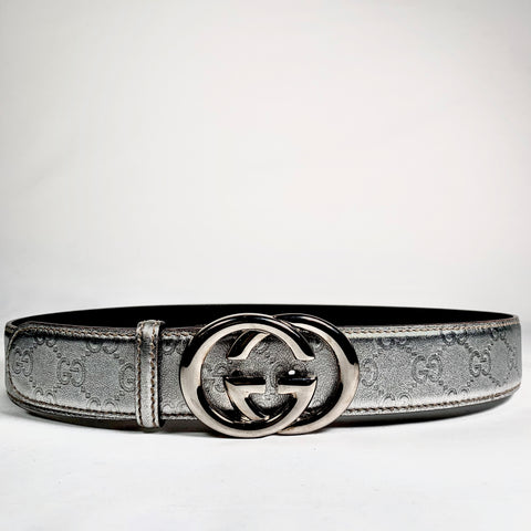 Gucci Signature belt in silver leather, 95