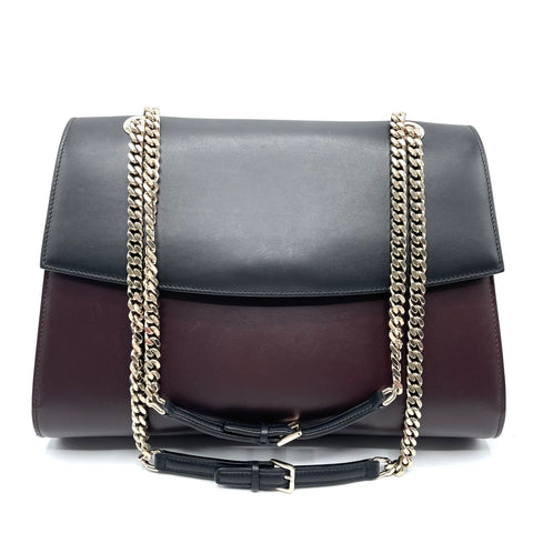 Sergio Rossi leather bag with golden shoulder strap