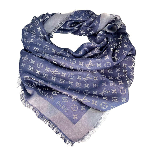 Louis Vuitton shawl Monogram Shine blue