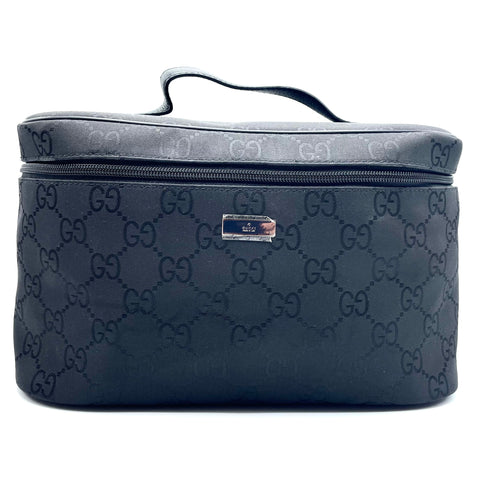 Gucci, black monogram canvas beauty case