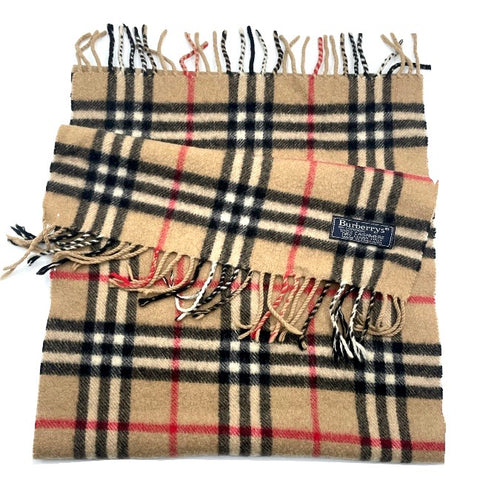 Burberry, sciarpa check in cashmere beige