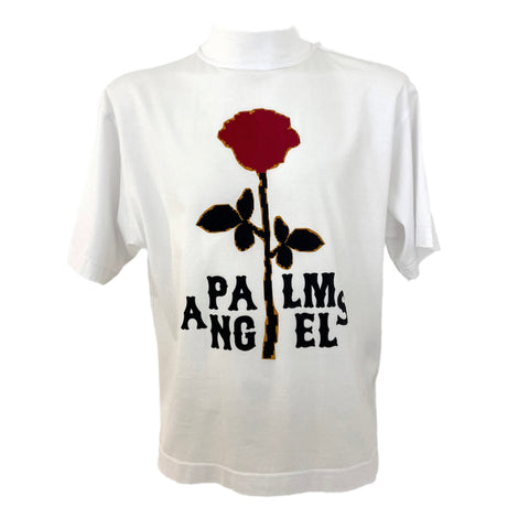 Palm Angels t-shirt con stampa floccata rosa stilizzata, S