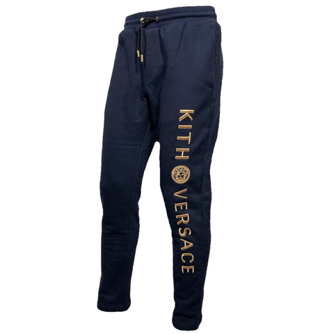 Versace for Kith navy blue sweatpant with gold writing, S