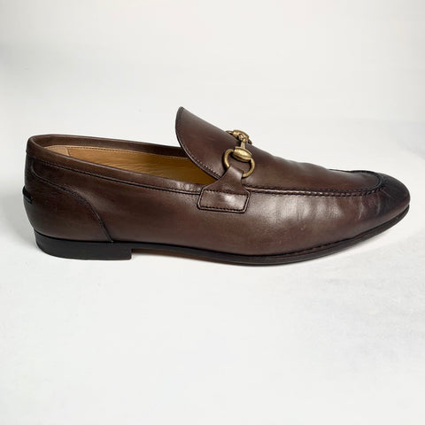 Gucci Jordaan moccasin in dark brown leather, 42