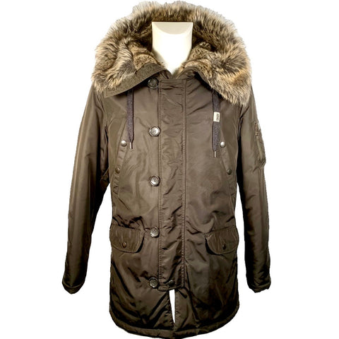 Dolce & Gabbana khaki jacket with faux fur detail, 46