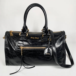 MIU MIU, Boston bag in black calfskin