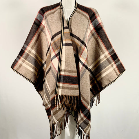 Etro cape in check motif wool, One size