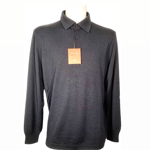 Loro Piana anthracite gray cashmere polo shirt, 56