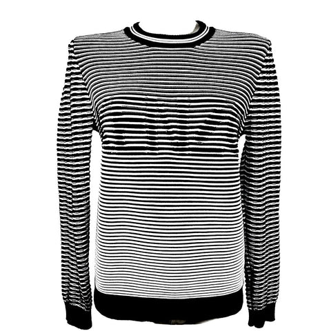 Kenzo embroidered striped sweater B/W with writing, L