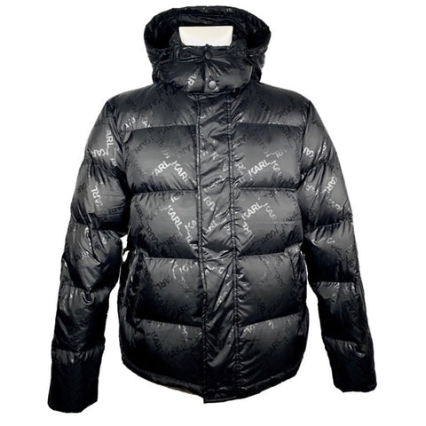 Karl Lagerfeld black down jacket with all over print, 48