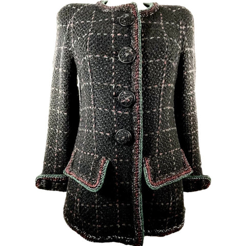 Chanel cappotto in lana check, 42
