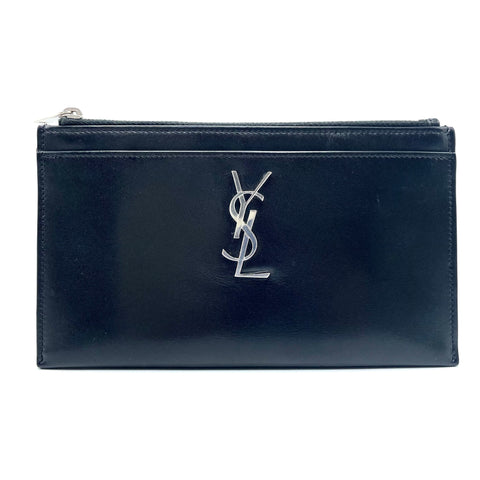 Yves Saint Laurent clutch bag in black leather