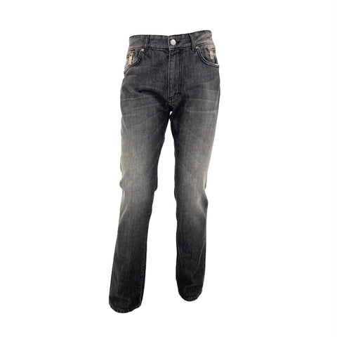 Versace dark washed effect jeans with zip details, 32