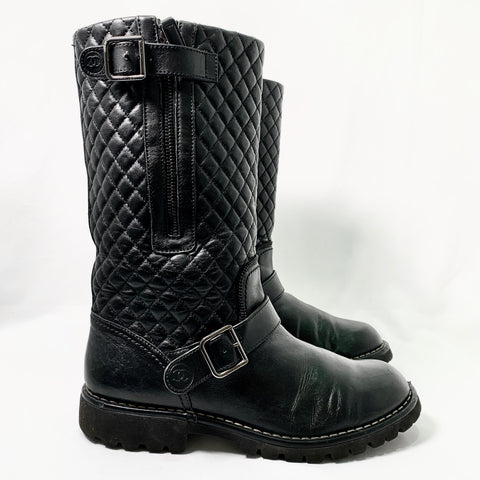 Chanel black leather biker boot, 40.5