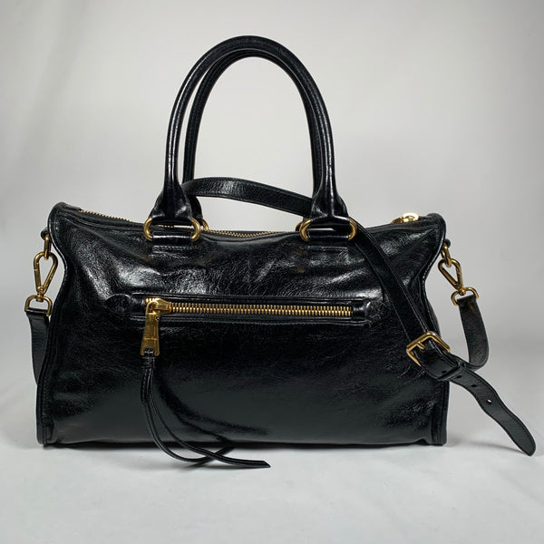 MIU MIU, borsa boston in pelle di vitello nera