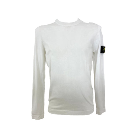Stone Island white cotton sweater, M