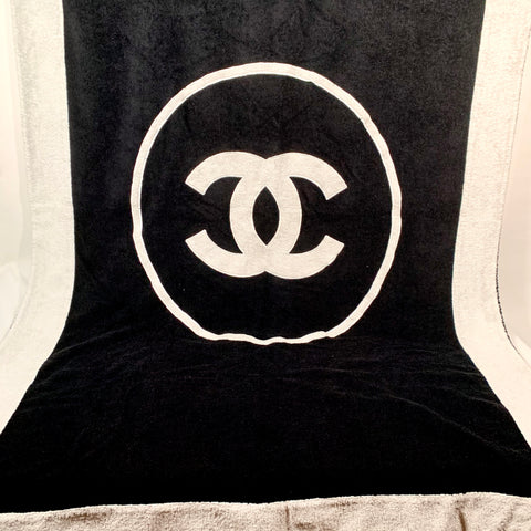 Chanel terry towel black-white sea