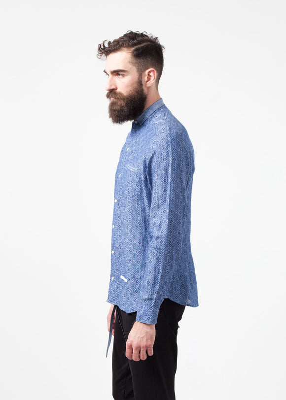 Linen Button Up in Blue Diamond