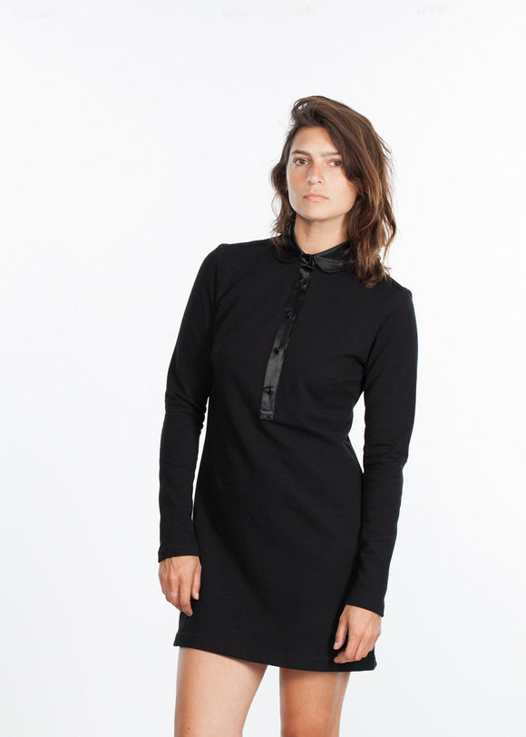 Fleece Jersey Dress in Black