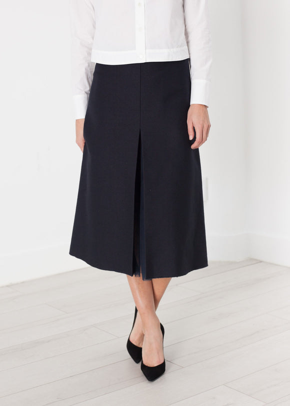 Tulle Pleat Skirt in Navy